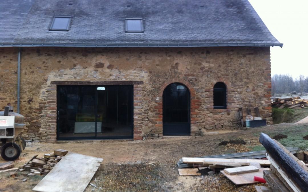 longère, rénovation maison, huisserie extérieur